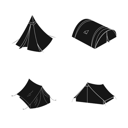Vector design of tent  and camp . Collection of tent  and forest stock symbol for web. Ilustrace