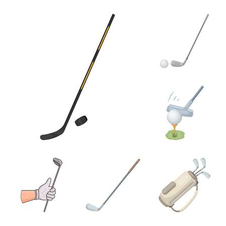Isolated object of stick and field icon. Set of stick and club stock symbol for web.