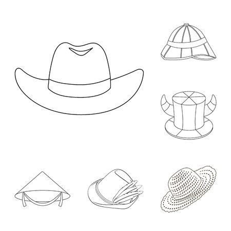 Vector illustration of hat and cap symbol. Set of hat and model vector icon for stock.