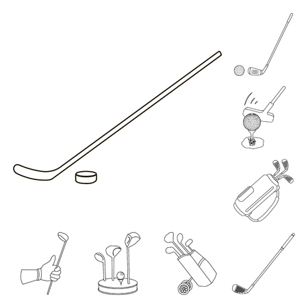 Isolated object of stick and field symbol. Collection of stick and club vector icon for stock.