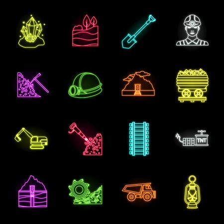 Mining industry neon icons in set collection for design. Equipment and tools vector symbol stock web illustration.