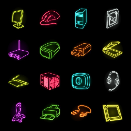 Personal computer neon icons in set collection for design. Equipment and accessories vector symbol stock web illustration.
