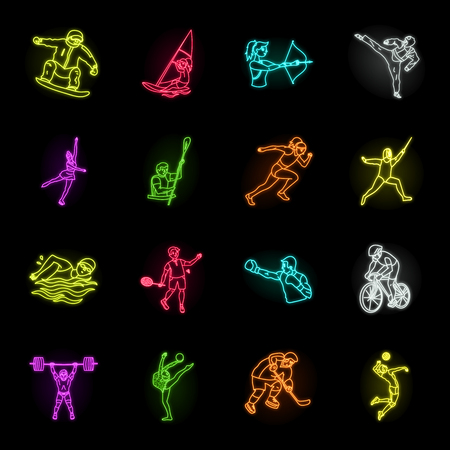 Different kinds of sports neon icons in set collection for design. Athlete, competitions vector symbol stock web illustration. Illustration