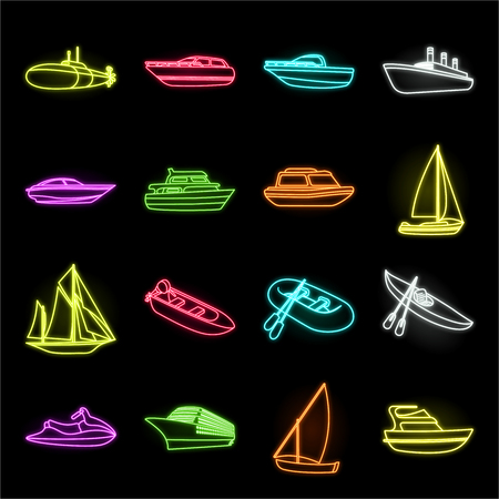 Water and sea transport neon icons in set collection for design. A variety of boats and ships vector symbol stock web illustration.