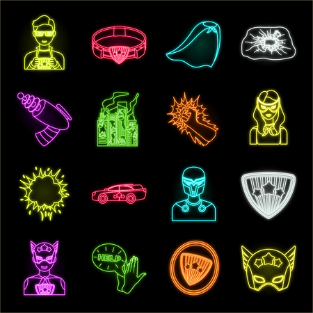 A fantastic superhero neon icons in set collection for design. Superheros equipment vector symbol stock web illustration.
