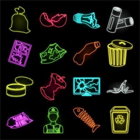 Ordures et déchets néon icônes dans la collection de jeu pour la conception. Illustration de stock de symbole de vecteur d'ordures de nettoyage. Vecteurs