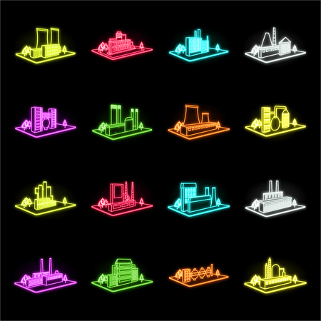 Factory and plant neon icons in set collection for design. Production and enterprise vector isometric symbol stock web illustration. Ilustração Vetorial