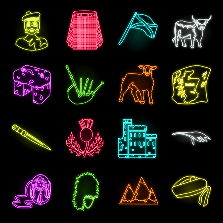 Country Scotland neon icons in set collection for design. Sightseeing, culture and tradition vector symbol stock web illustration.