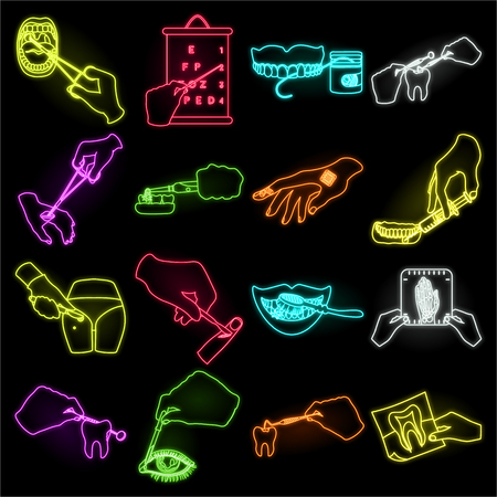 Manipulation by hands neon icons in set collection for design. Hand movement in medicine vector symbol stock illustration.