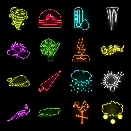 Different weather neon icons in set collection for design.Signs and characteristics of the weather vector symbol stock web illustration. Illustration