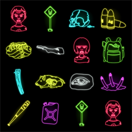 Zombies and Attributes neon icons in set collection for design. Dead man vector symbol stock web illustration.