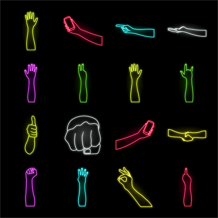 Gestures and their meaning neon icons in set collection for design.Emotional part of communication vector symbol stock web illustration.