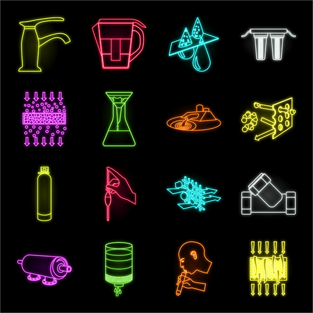 Water filtration system neon icons in set collection for design. Cleaning equipment vector symbol stock web illustration. Vektoros illusztráció