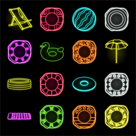 Multicolored swimming circle neon icons in set collection for design. Different lifebuoys vector symbol stock web illustration.