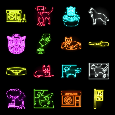 Pet neon icons in set collection for design. Care and education vector symbol stock web illustration.