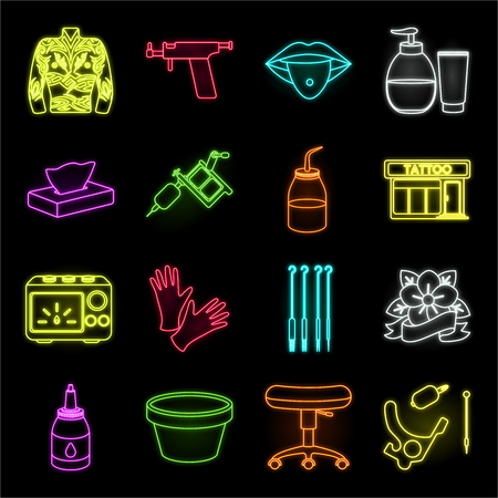 Tattoo, drawing on the body neon icons in set collection for design. Tattoo salon and equipment vector symbol stock web illustration.