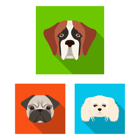 Isolated object of cute and puppy logo. Collection of cute and animal vector icon for stock.