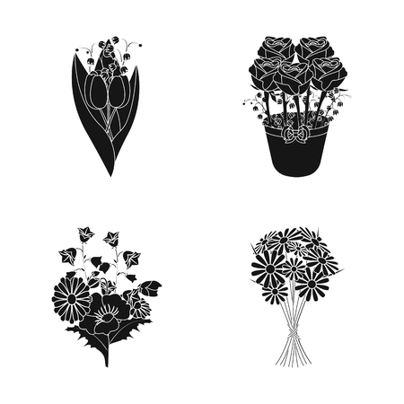 Isolated object of spring and wreath icon. Set of spring and blossom stock vector illustration.