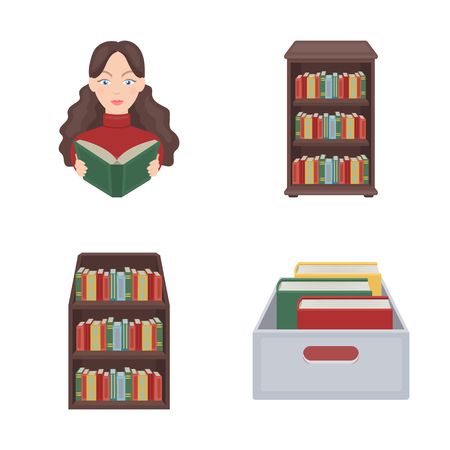 Vector illustration of  and  library  sign. Set of  and textbook  vector icon for stock.