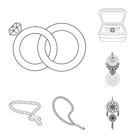 Vector illustration of jewelery and necklace symbol. Set of jewelery and pendent stock vector illustration.