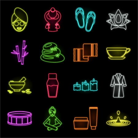 Spa salon and equipment neon icons in set collection for design. Relaxation and rest vector symbol stock web illustration.