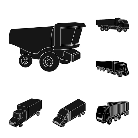 Vector illustration of truck and shipping icon. Set of truck and container stock symbol for web. Illustration