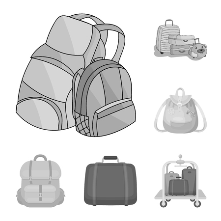 Vector design of  and backpack sign. Set of  and pack stock vector illustration.