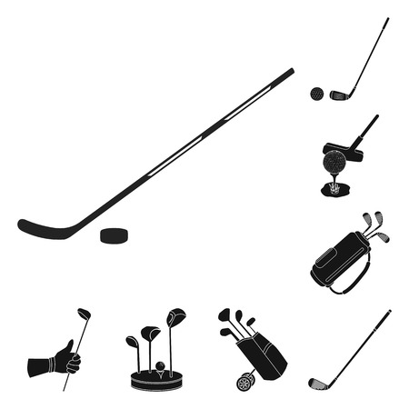 Vector illustration of stick and field symbol. Set of stick and club stock symbol for web.