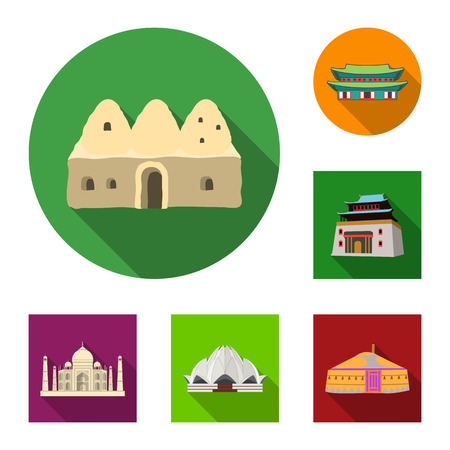 Vector design of  and town  symbol. Set of  and house stock symbol for web.