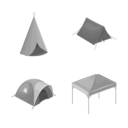 Vector illustration of tent  and camp sign. Collection of tent  and forest stock symbol for web. Ilustração
