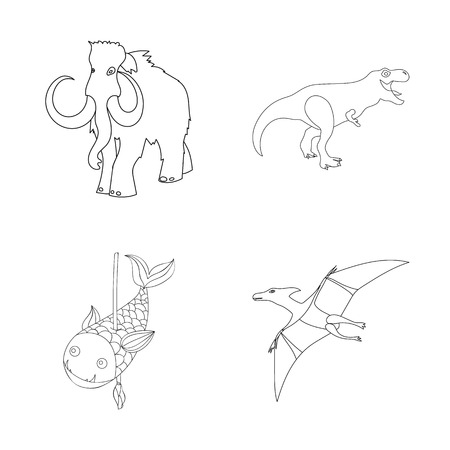 Isolated object of animal and character . Set of animal and ancient  stock vector illustration.