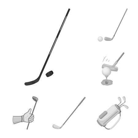 Vector design of stick and field logo. Collection of stick and club stock symbol for web.