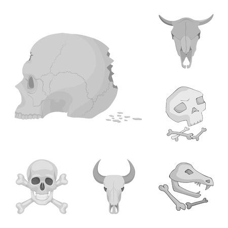 Vector illustration of skeleton and character icon. Set of skeleton and halloween stock symbol for web.