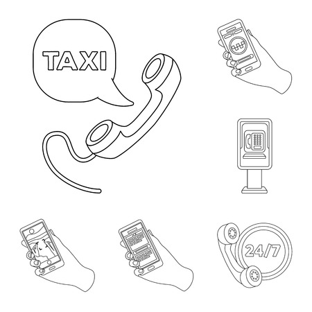 Isolated object of phone and screen symbol. Collection of phone and cellphone stock vector illustration. Vectores