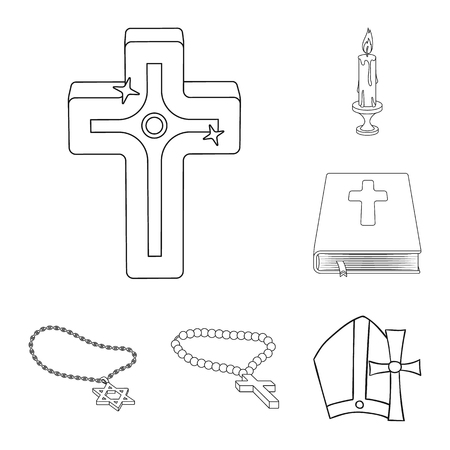 Vector design of muslim and items symbol. Set of muslim and candle stock symbol for web. 일러스트