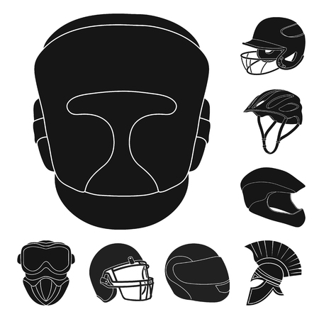 Isolated object of helmet and sport logo. Set of helmet and moto vector icon for stock. Çizim