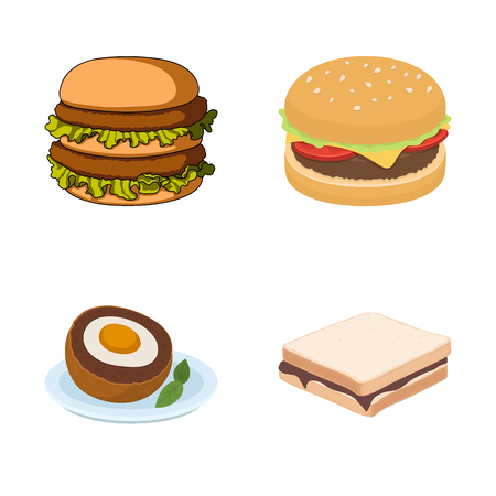 Isolated object of sandwich and wrap symbol. Set of sandwich and lunch vector icon for stock.