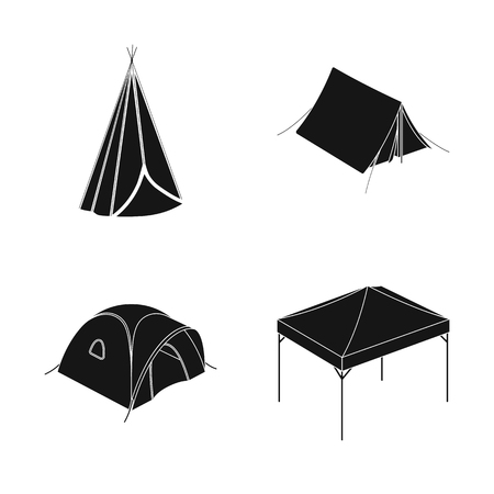 Vector design of tent  and camp. Collection of tent  and forest stock symbol for web.