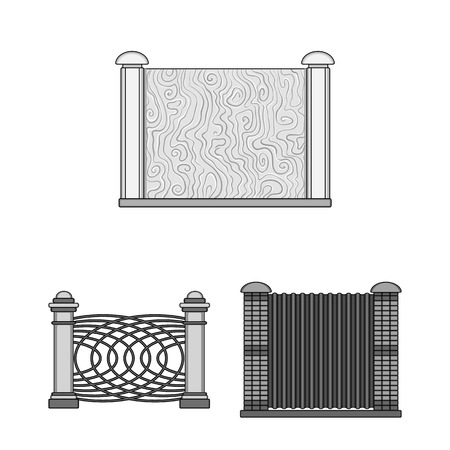 Isolated object of gate and fence sign. Collection of gate and wall vector icon for stock.