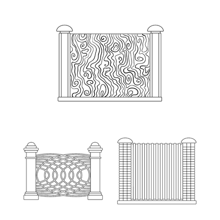 Vector illustration of gate and fence. Collection of gate and wall stock symbol for web.