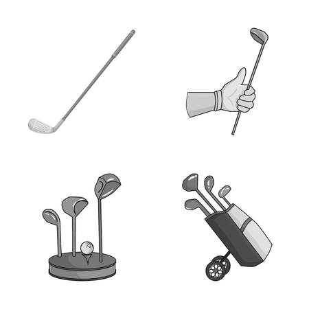 Isolated object of stick and field logo. Collection of stick and club stock vector illustration.