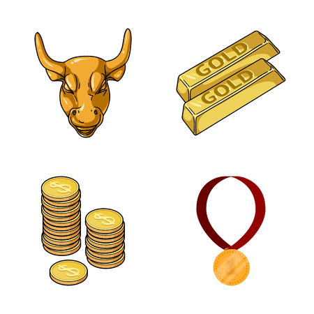 Isolated object of gold  and ingot symbol. Set of gold  and economics stock vector illustration.  イラスト・ベクター素材