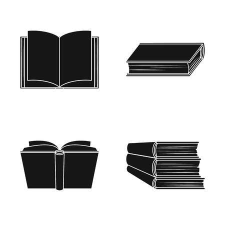 Vector illustration of library and textbook sign. Set of library and school vector icon for stock.