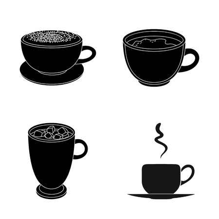 Vector design of cup and coffe sign. Set of cup and top  vector icon for stock. Illustration