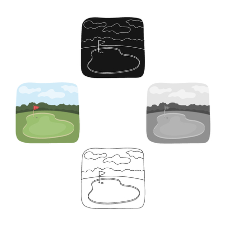 Golf course.Golf club single icon in cartoon style vector symbol stock illustration web. Фото со стока - 115887324