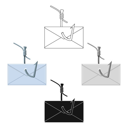 Hooked e-mail icon in cartoon style isolated on white background. Hackers and hacking symbol stock vector illustration. Vecteurs