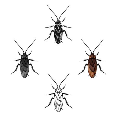 Icono de cucaracha en estilo de dibujos animados aislado sobre fondo blanco. Ilustración de vector de valores de símbolo de insectos.