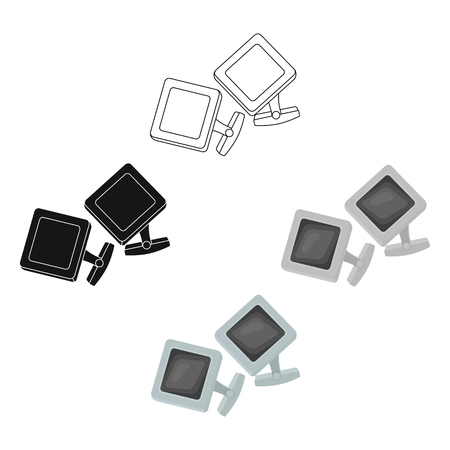 Cufflinks icon in cartoon style isolated on white background. Jewelry and accessories symbol stock vector illustration. Illustration