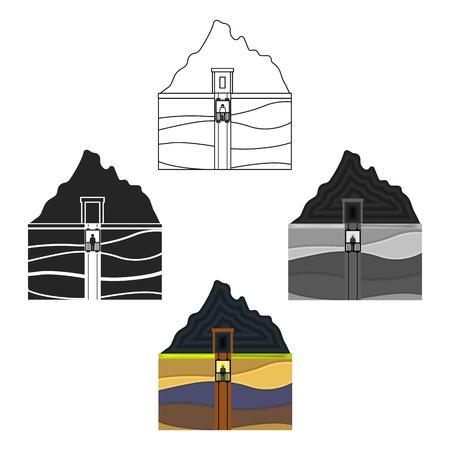 Mine shaft icon in cartoon style isolated on white background. Mine symbol stock vector illustration. Illustration