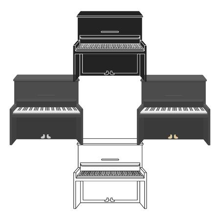 Icône de piano en style cartoon isolé sur fond blanc. Symbole d'instruments de musique illustration vectorielle stock Vecteurs